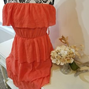 A. Byer Coral Strapless Ruffle Dress